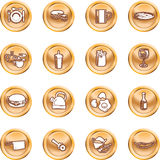Nahrungsmittelikonen-Tasten-Serien-Set Lizenzfreies Stockbild