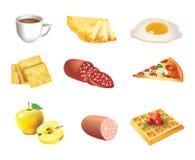 Nahrungsmittelikonensatz Stockfotos