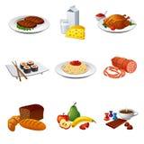 Nahrungsmittelikonensatz Stockfotografie