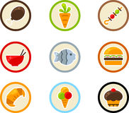 Nahrungsmittelikonenset Lizenzfreies Stockfoto