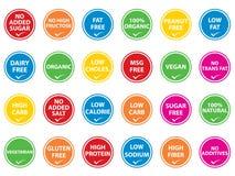 Nahrungsmittelkennsätze Stockfoto