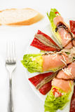 Nahrungsmittellachssardellensalat Lizenzfreies Stockfoto