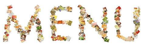 Nahrungsmittelmenü-Collage Stockfotografie