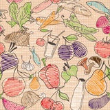 Nahrungsmittelnahtloses Muster Hand gezeichneter Vektor Stockfoto