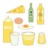 Nahrungsmittelpyramide-Molkereischmieröl-Nahrungsmittel Stockbilder