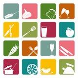 Nahrungsmittelquadratische Ikonen eingestellt lizenzfreie abbildung