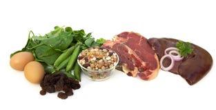 Nahrungsmittelquellen des Eisens Stockbilder