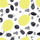 Nahrungsmittelsammlung Zitronen übergeben gezogene Blaubeere und Brombeeren nahtloses Muster stock abbildung