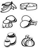 Nahrungsmittelsymbole Stockfoto