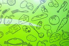 Nahrungsmitteltapete auf grünem Hintergrund Küchenmuster Entwurf für Raum Spaß und modernes stockfotos
