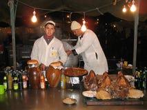 Nahrungsmittelverkaufsstandplatz, Marrakesch, Marokko Lizenzfreie Stockfotografie