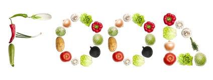 Nahrungsmittelwort gebildet vom Gemüse Lizenzfreies Stockfoto