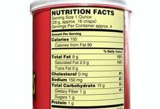 Nahrungstatsachen von Kartoffelchips Stockbilder