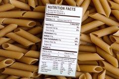 Nahrungstatsachen von Naturreis-Teigwaren Lizenzfreie Stockfotografie
