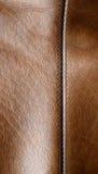 Naht auf dem braunen Leder Lizenzfreies Stockbild