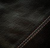 Naht auf dem schwarzen Leder Lizenzfreie Stockbilder