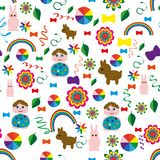 Nahtlos-Kind-Hintergrund-mit-ein-Regenbogen-Tier-Bälle vektor abbildung