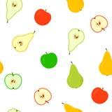 Nahtlos mit Äpfeln und Birnen Stockfoto