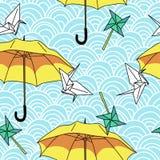 Nahtlos mit gelben Regenschirmen und origami stock abbildung