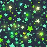 Nahtlos mit glänzenden grünen Sternen Lizenzfreie Stockbilder