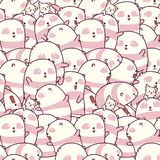Nahtlos Muster vieler Pandas und der Katzen vektor abbildung