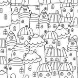 Nahtlos pattren magische Stadt Colorieng-Buch für Erwachsene Lizenzfreie Stockfotos