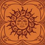 Nahtlos pattren von der Stammes- Sonne und vom Halbmondmond vektor abbildung