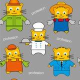 Nahtlos von den Katzen von verschiedenen Berufen, von Hand gezeichnetes Muster Lizenzfreie Stockfotos