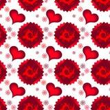 Nahtlos von den roten mehrschichtigen Herzen, von den Quadraten und von der Kamille stock abbildung