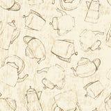 Nahtlos von den Weinlese-Teekannen Lizenzfreie Stockfotos