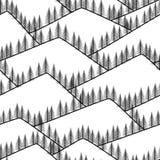 Nahtlose abstrakte Berge mit Tannenhintergrund Stockfotografie