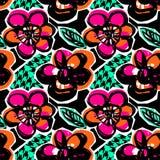 Nahtlose abstrakte Blumengezeichnetes Muster der tinte Hand Lizenzfreie Stockfotos