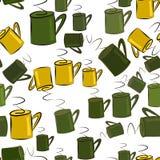 Nahtlose abstrakte Illustrationen der Kaffeetasse, begrifflich Art, Energie, Oberfläche u. Bruch vektor abbildung