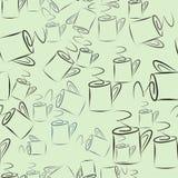 Nahtlose abstrakte Illustrationen der Kaffeetasse, begrifflich Getränk, Hintergrund, Art u. Grafik stock abbildung