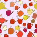Nahtlose abstrakte Illustrationen der Kaffeetasse, begrifflich Kunst, kreatives, unordentliches u. Hintergrund vektor abbildung