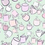 Nahtlose abstrakte Illustrationen der Kaffeetasse, begrifflich Mokka, Getränk, Schablone u. Getränk vektor abbildung