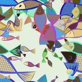 Nahtlose abstrakte Illustrationen von Fischen, begrifflich Skizze, Oberfläche, Zeichnung u. Vektor vektor abbildung