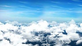 Nahtlose Animation 3d der Vogelperspektive des bewölkten blauen Himmels mit Wolken mit der Kamera, die in skyscape Hintergrund in stock abbildung