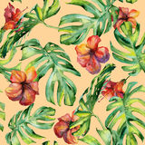 Nahtlose Aquarellillustration von tropischen Blättern Stockfotografie
