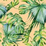 Nahtlose Aquarellillustration von tropischen Blättern, dichter Dschungel Stockfoto