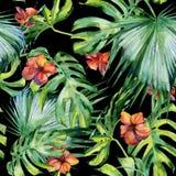 Nahtlose Aquarellillustration von tropischen Blättern, dichter Dschungel Stockbild
