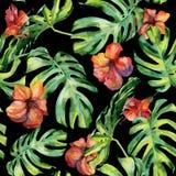 Nahtlose Aquarellillustration von tropischen Blättern, dichter Dschungel Stockbilder