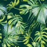 Nahtlose Aquarellillustration von tropischen Blättern, dichter Dschungel Stockfotos