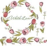 Nahtlose Bürste und Kranz von Tulpenblumen im Vektor auf weißem Hintergrund lizenzfreie abbildung