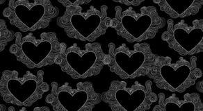 Nahtlose Beschaffenheit des abstrakten Vektors mit Spitzen- dargestellten Herzen Lizenzfreie Stockfotografie
