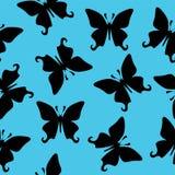 Nahtlose Beschaffenheit des schwarzen Schmetterlingsvektors Stockfotos