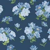 Nahtlose Beschaffenheit mit blauen Blumen Stockfotografie