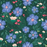 Nahtlose Beschaffenheit mit Blumen und Blättern. Rot hören Lizenzfreie Stockfotografie