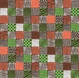 Nahtlose Beschaffenheit mit einem grafischen Muster von Quadraten Stockfotos