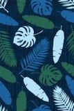 Nahtlose Beschaffenheit mit Palmblättern, Monstern und Banane verlässt auf einem Hintergrund von abstrakten Streifen Auch im core Stockfotografie